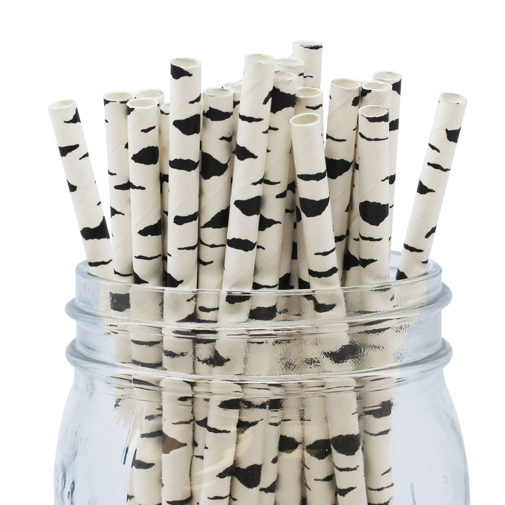 Just Artifacts 100pcs Decorative Paper Straws - Birch Branch Pattern - Decorative Paper Straws for Birthday Parties, Weddings, Baby Showers, and Life Celebrations!