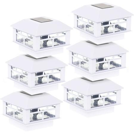 6 Pack GreenLighting Outdoor Solar Powered Modern Design Post Cap Light (White)