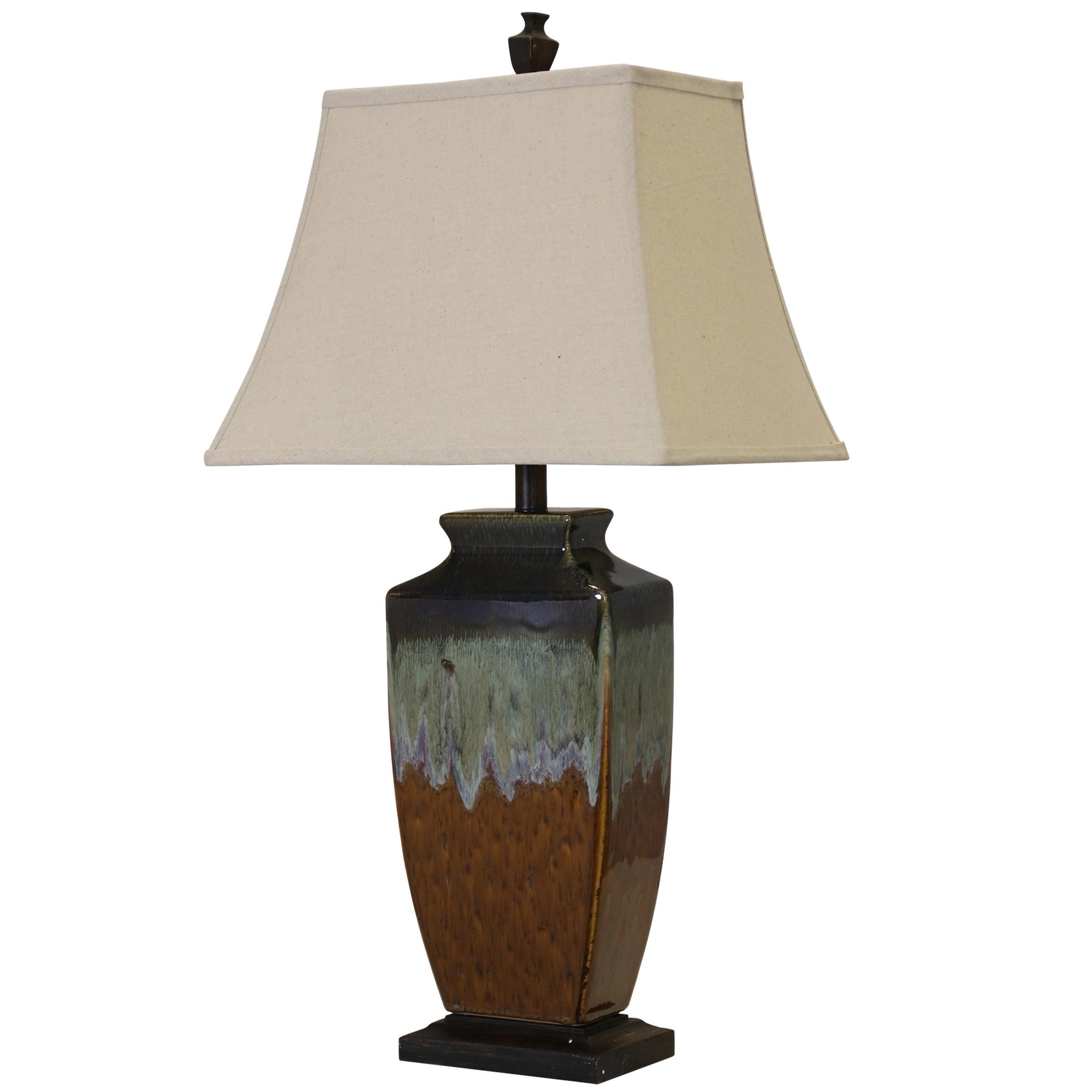 Varna Ceramic Table Lamp Brown And Turquoise Glaze Finish Cream