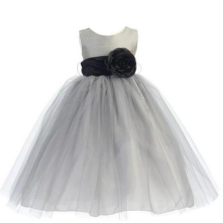 Little Girls Silver Black Sash Poly Silk Tulle Flower Girl Dress 6
