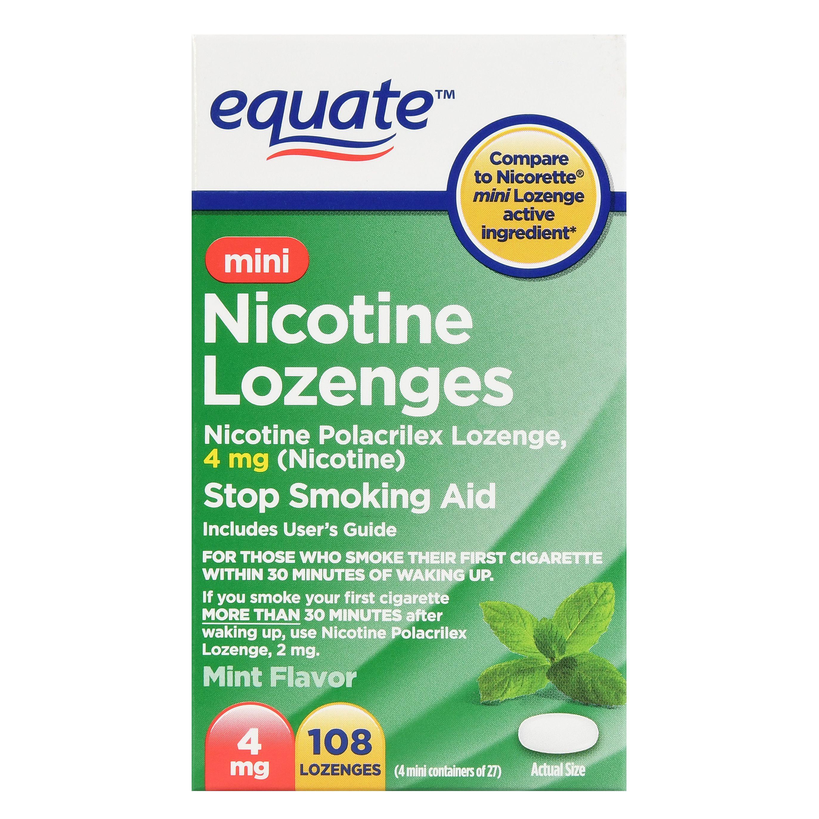 Equate Mini Nicotine Lozenges, Mint Flavor, 4 mg, 108 Count