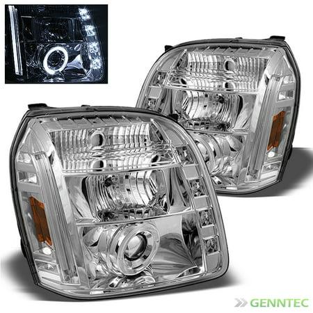 (2007-2014 GMC Yukon Dual Halo LED Projector Headlights  Head Lights Lamp Pair L+R 2008 2009 2010 2011 2012 2013)