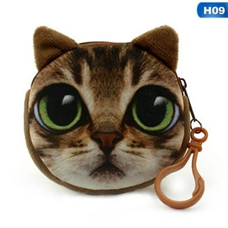 SHOPFIVE 3D Cute Wallet Bag Animal Face Zipper Mini Cat Coin Purses Dog Purse Plush HXWT (Two Face Coin)