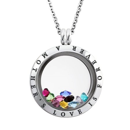 25 MM Stainless Steel A Mother's Love is Forever Engraved Floating Glass Charm Locket Pendant Necklace - Floating Charm Locket Necklace