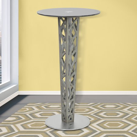 Armen Living Crystal Pub Table with Gray Walnut Veneer Column and Brushed Stainless Steel Finish, Gray Tempered Glass Top