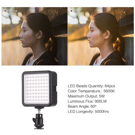 Andoer WY-64 Mini LED Light Panel 5W Dimmable 5600K Camcorder Video Lamp with Shoe Mount Adapter for Canon Nikon Sony DSLR Camera - image 5 of 7