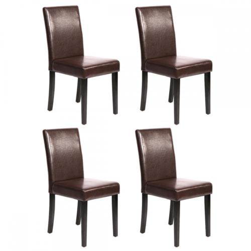 Dining Chairs Set Brown Faux Leather Modern Style Walnut: Set Of 4 Brown Leather Contemporary Elegant Design Dining
