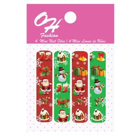 Oh Fashion Mini Nail Files Red Christmas 1 Pack Of 4 Edition Filer Set