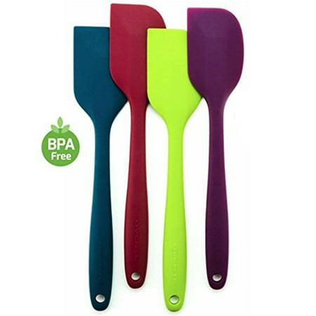 Ovente BPA-Free Premium Silicone Spatulas with Stainless Steel Core, 500 Heat-Resistant, Non-Stick, Dishwasher Safe, Ergonomic Design, Multi-Color  Blue, Green, Purple, Red (SP1004BLGPR)