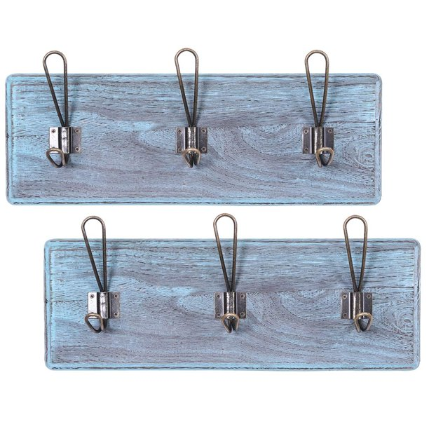 """Rustic Wall Mounted Coat Racks with 3 Sturdy Hooks – Set of 2 – Vintage Entryway Wooden Coat Racks – Rustic Rack for Coats, Bags, Towels and More – 35"""" x 6.10""""– Torched Wood - Rustic Blue"""