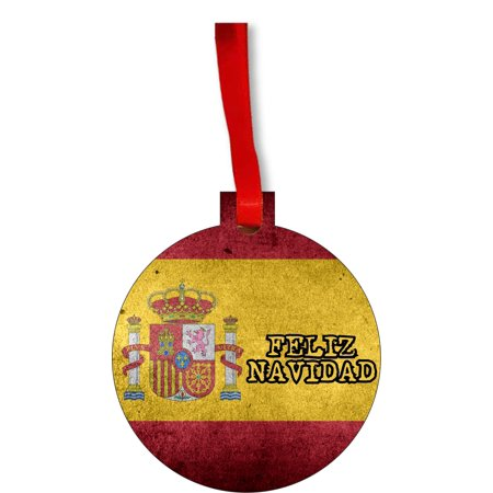 Flag of Spain - Spanish Grunge Flag Feliz Navidad Round Shaped Flat Hardboard Christmas Ornament Tree Decoration - Unique Modern Novelty Tree Décor Favors - Feliz Navidad Decorations