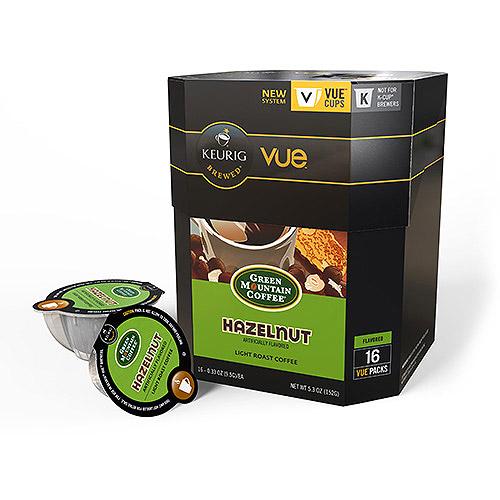 Green Mountain Coffee Hazelnut Light Roast Coffee Keurig Vue Cups, 16 count