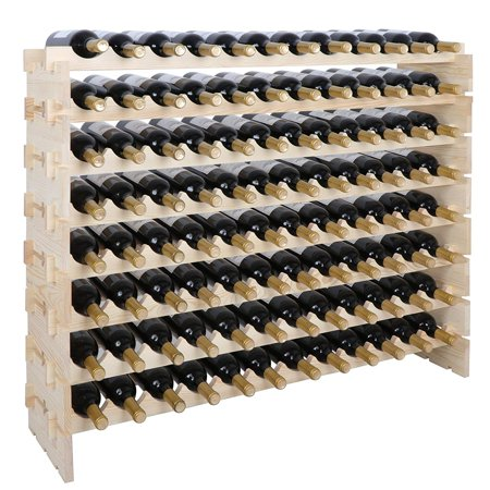 Zeny 96 Bottle Wood Wine Rack Stackable Storage 8 Tier Storage Display Shelves