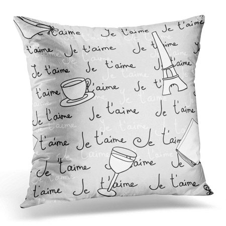 USART Throw Pillow Case Cushion Cover Black France Paris Je T'aime White Nice Pillow Cover 18x18 Inches ()