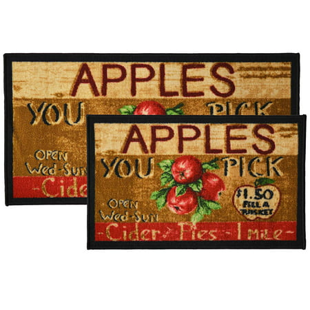 2pc Apple Cider Kitchen Rug Set, Area Rug, Mat, Carpet, Non-Skid Latex