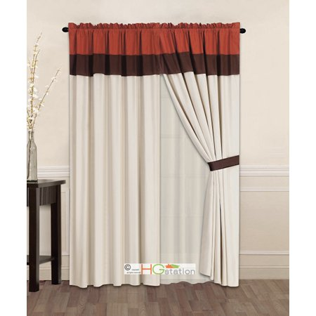 4 pc striped solid modern curtain set rust orange brown. Black Bedroom Furniture Sets. Home Design Ideas