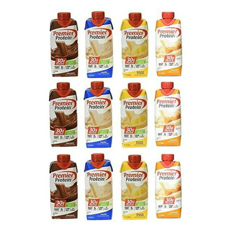 Premier Protein High Protein Shakes - 3 Chocolate, 3 Vanilla, 3 Banana, 3 Caramel (11 fl. oz., 12 pack)