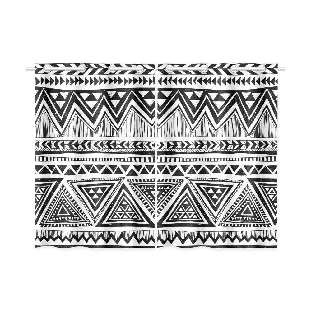 CADecor Tribal Chevron Window Kitchen Curtain, Aztec Zig