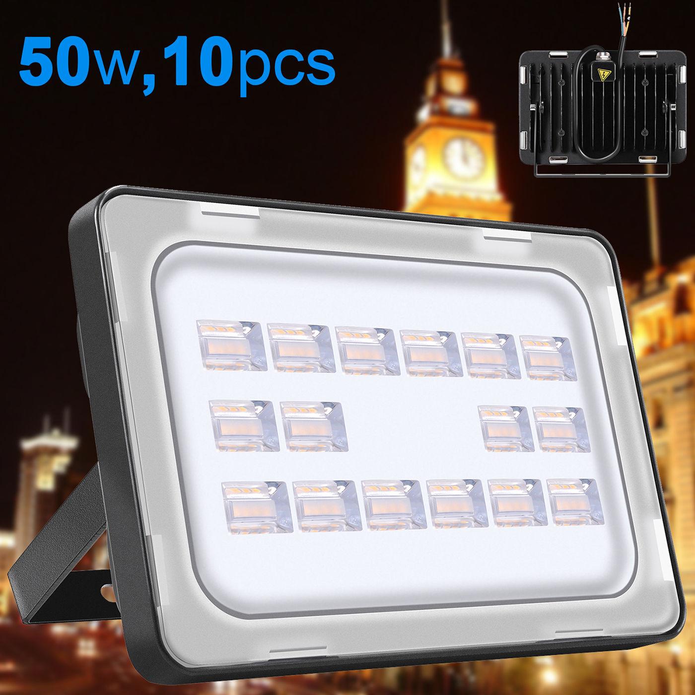 10X Viugreum 50W LED Floodlight Outdoor Garden Wall Lamp Warm White Waterproof