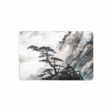 MKHERT Oriental Chinese Traditional Mountain Landscape Ink Painting Doormat Rug Home Decor Floor Mat Bath Mat 23.6x15.7 inch