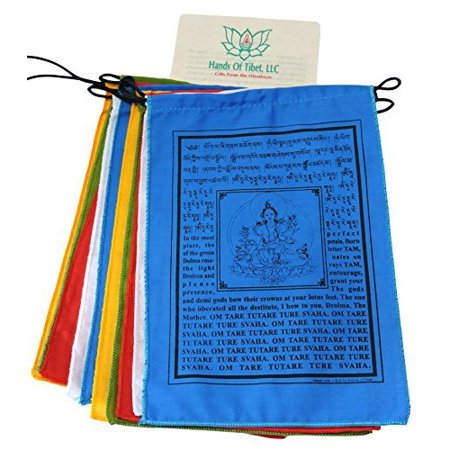 Handmade Green Tara Prayer Flags Tibetan with English Translation -