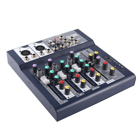 Live Sound Console - F-4 4 Channel EU Plug 230V Live Mixing Studio Audio Sound Console Network Anchor Portable Mixing Device Vocal Effect Processor