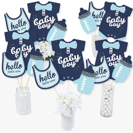 Hello Little One - Blue and Silver - Boy Baby Shower Party Centerpiece Sticks - Table Toppers - Set of 15 - Halloween Baby Shower Centerpieces