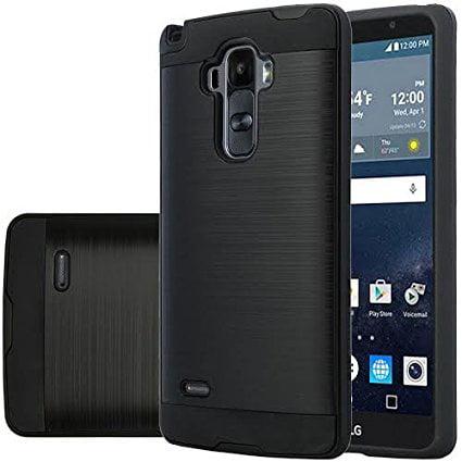LG G Stylo, Vista 2 Case - Wydan Brushed Metal Texture Slim Hybrid Shockproof Impact Resistant Phone Case Cover Black on Black (Phone Cases Lg Vista Cowboy)