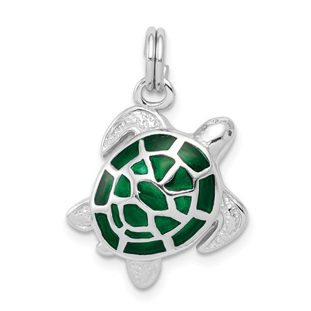 925 Sterling Silver Green Enamel Turtle Pendant Charm Necklace Sea Life For Women Gift Set
