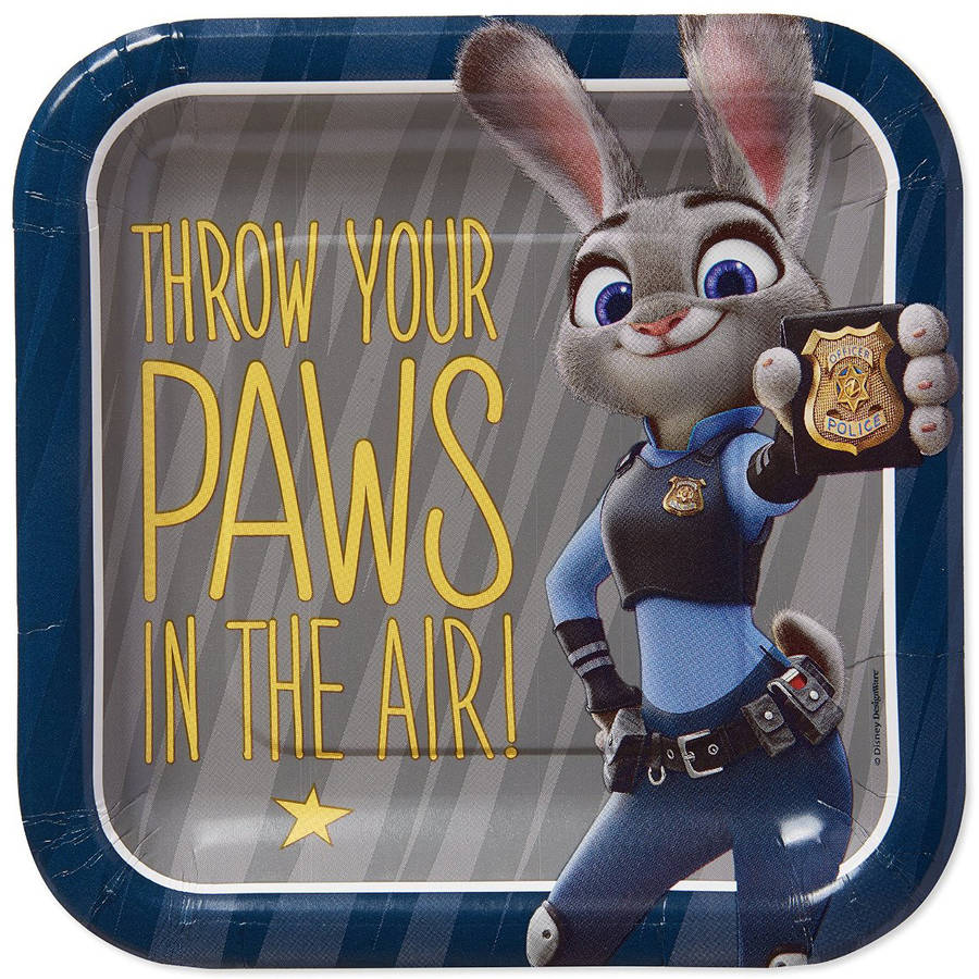 American Greetings Zootopia Judy Hopps Party Paper Square Dessert Plate, 7 in, 8ct