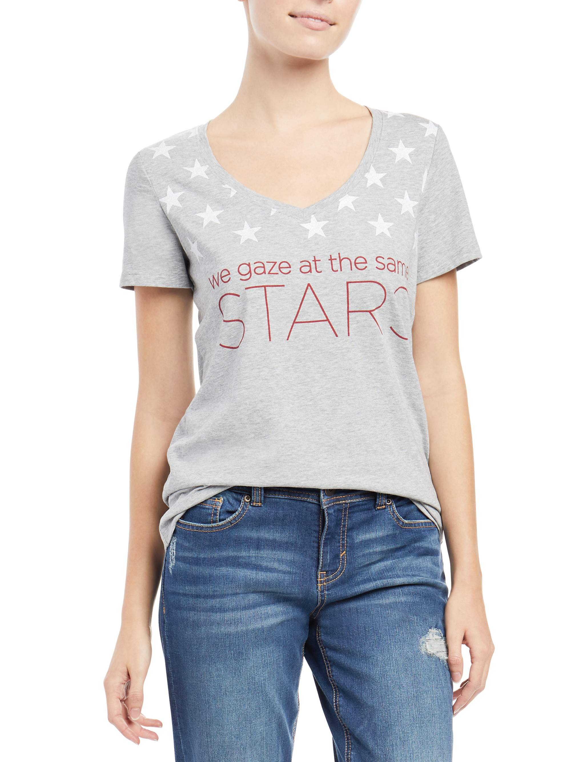 Stars V Neck Graphic Tee Women's
