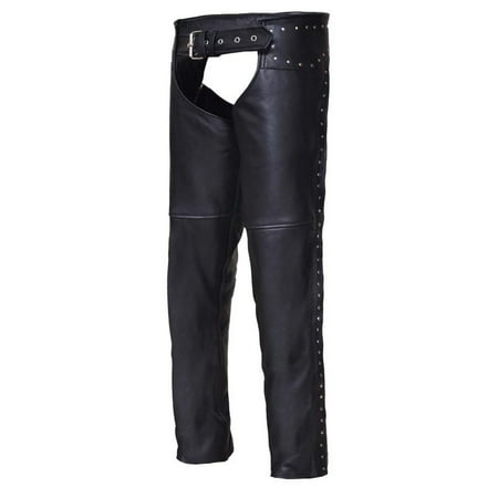 Ladies Premium Leather Studded Motorcycle (Ladies Leather Chaps)