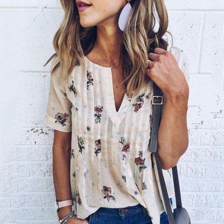 Nlife Women V Neck Short Sleeve Floral Print In Polka Dot Print Stripe T Shirt