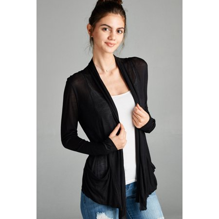 Women's Long Sleeve Lightweight Cardigan Flyaway Draped Open Front with Pockets Several Colors to Choose From