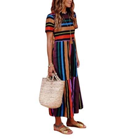 a6338992ae Women's Summer Boho Casual Colorful Stripes Long Maxi Evening Party Cocktail  Holiday Beach Dress Sundress
