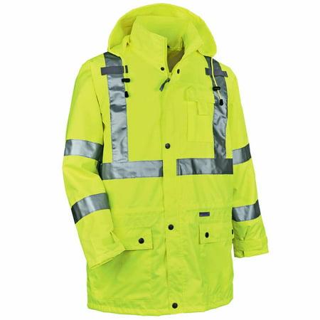 Ergodyne GloWear® 8365 Type R Class 3 Rain Jacket, Lime, L