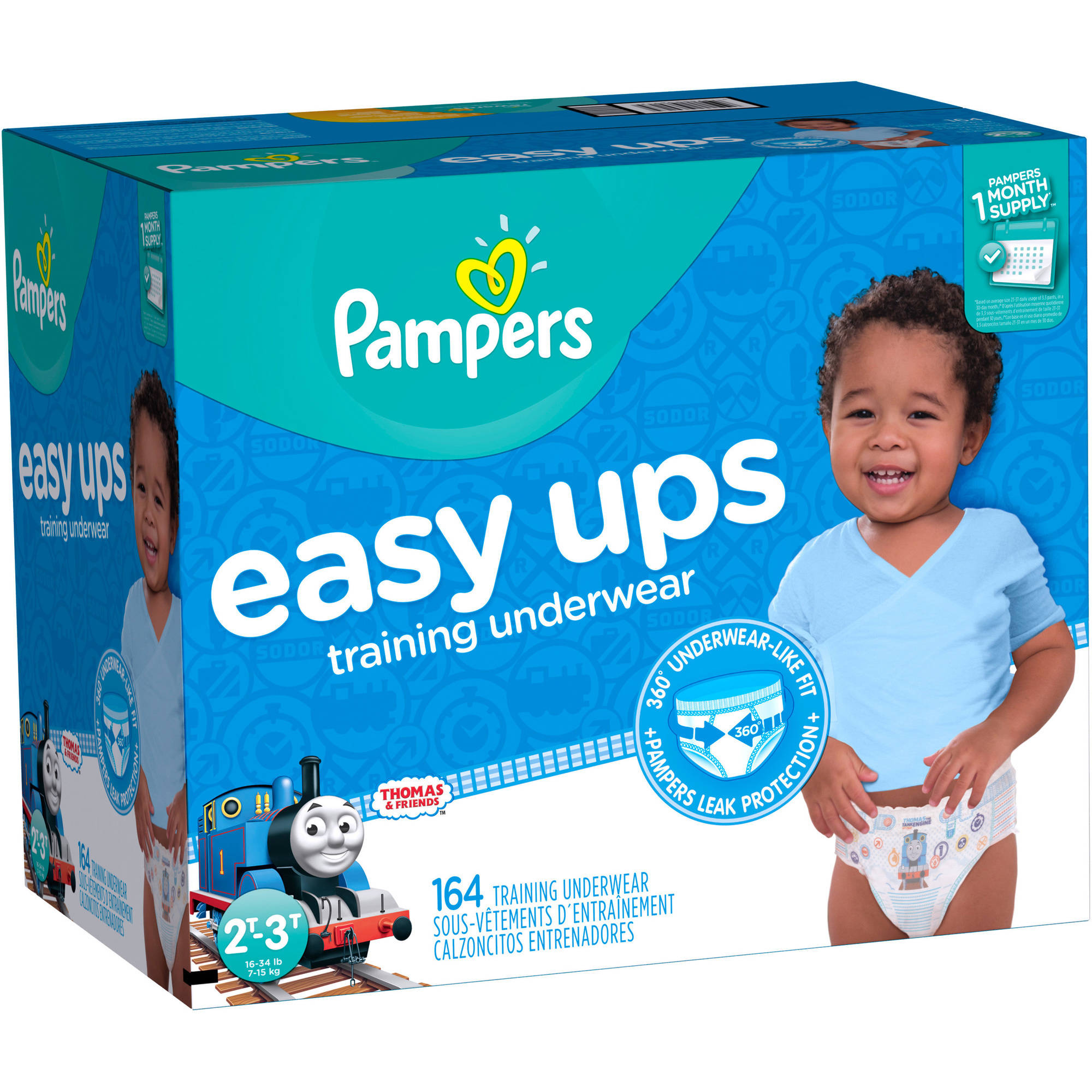 Pampers Easy Ups Boys Training Pants, Size 2T-3T (Choose Pant Count)