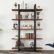 "Tribesigns 5-Tier Bookshelf, Vintage Industrial Style Bookcase 72"" H x 12"" W x 47"" L, Cherry"