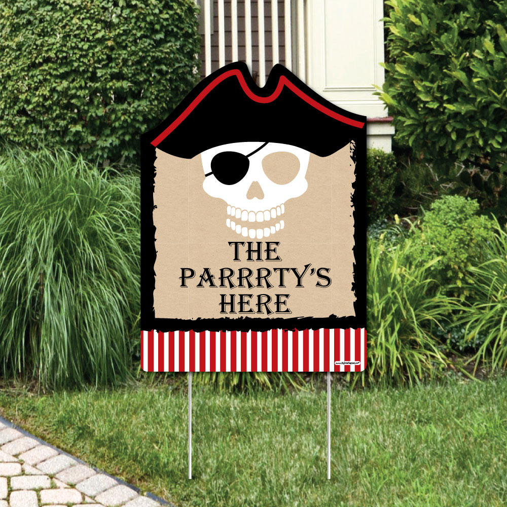 Beware of Pirates - Party Decorations - Pirate Birthday Party Welcome Yard Sign