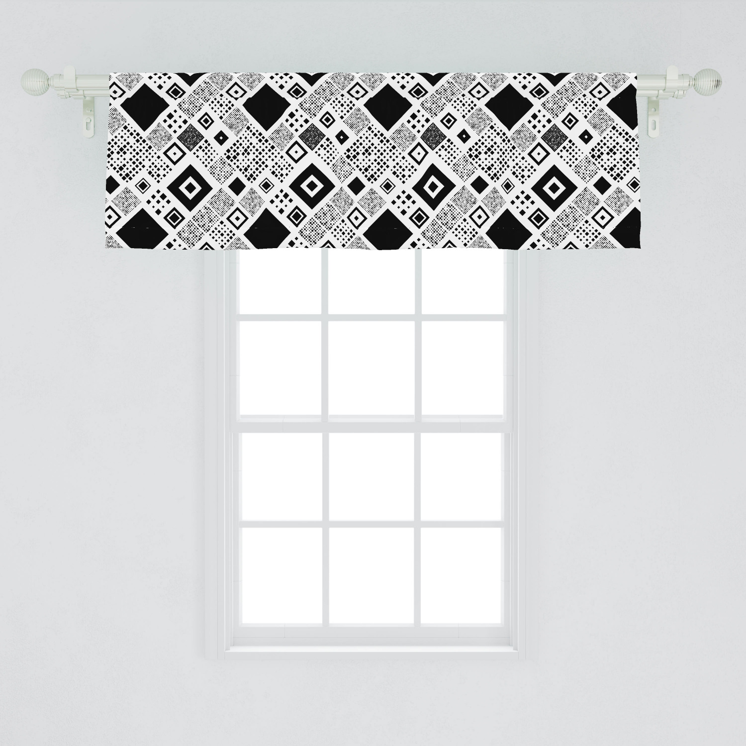 Picture of: Black And White Window Valance Geometrical Diagonal Pattern With Various Different Squares Contemporary Curtain Valance For Kitchen Bedroom Decor With Rod Pocket By Ambesonne Walmart Com Walmart Com