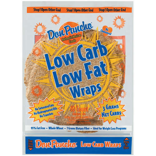 Don Pancho Low Carb Low Fat Whole Wheat Medium Wraps, 10 ct