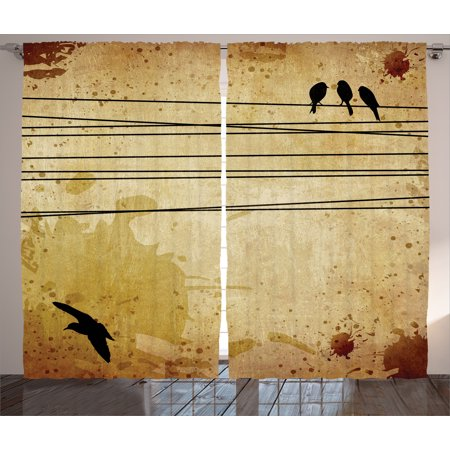 Vintage Curtains 2 Panels Set, Cables and Birds Image on Vintage Paper Style Background with Paint Stains Pattern, Living Room Bedroom Decor, Mustard, by Ambesonne