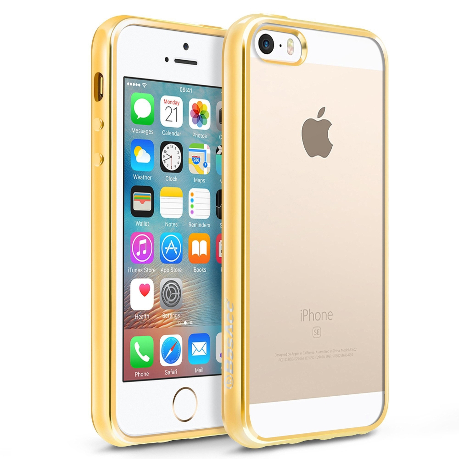 iPhone SE Case, by BasAcc Clear TPU Rubber Back Cover with Gold Chrome Edge Bumper For Apple iPhone SE / 5S / 5 (Christmas Gift Idea)