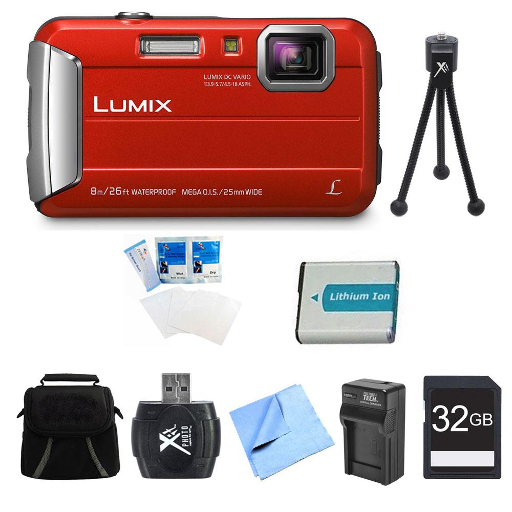 Panasonic LUMIX DMC-TS30 Active Tough Red Digital Camera 32GB Bundle - Includes Camera, 32GB Card, Compact Bag, Battery, Card Reader, Battery Charger, Mini Tripod, Screen Protectors, and Micro Fiber