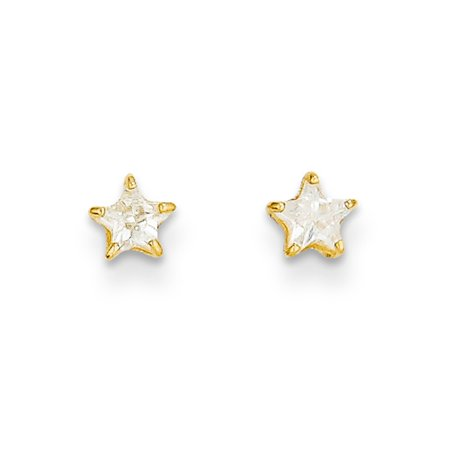 Kids 4mm Cubic Zirconia Star Shaped Stud Earrings In 14k Gold