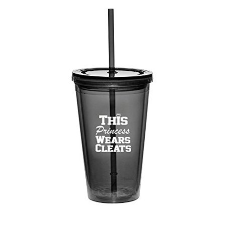 16oz Double Wall Acrylic Tumbler Cup With Straw Softball Baseball Lacrosse This Princess Wears Cleats (Black) - Cleatus Cups