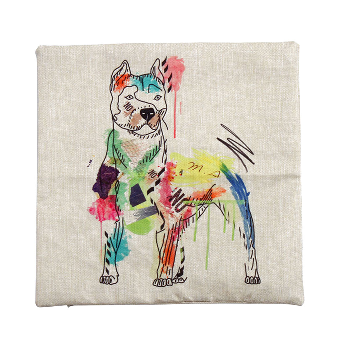 Piccocasa Linen Painting Dog Face Pattern Pillowcase Cushion Cover 45 x 45cm - image 7 of 7