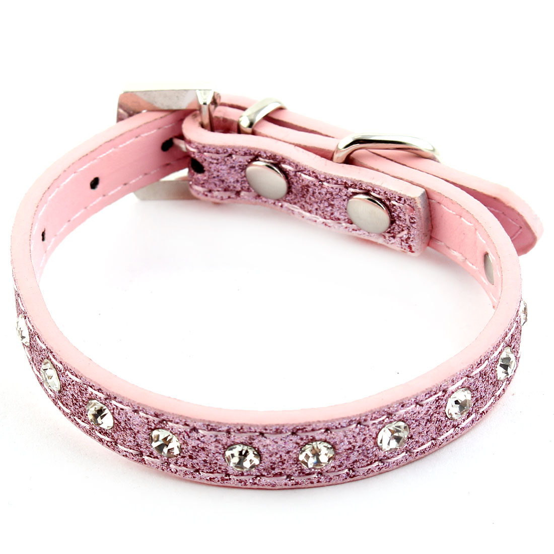 Faux Rhinestones Inlaid Pendant Ring Adjustable Pet Dog Cat Collar Strap Pink XS