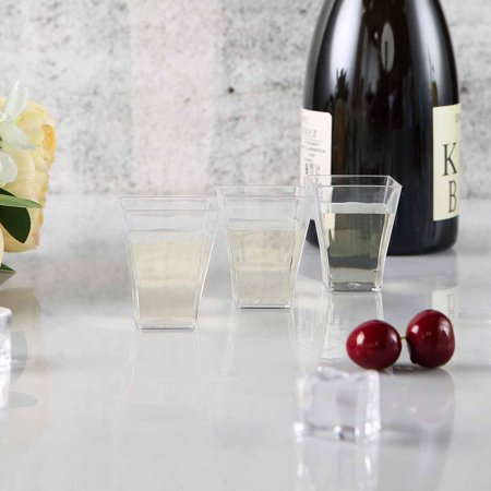 Personalized Plastic Shot Glasses No Minimum (Efavormart 120 Pcs - Clear Super Chic Squared 2oz Disposable Plastic Shot)