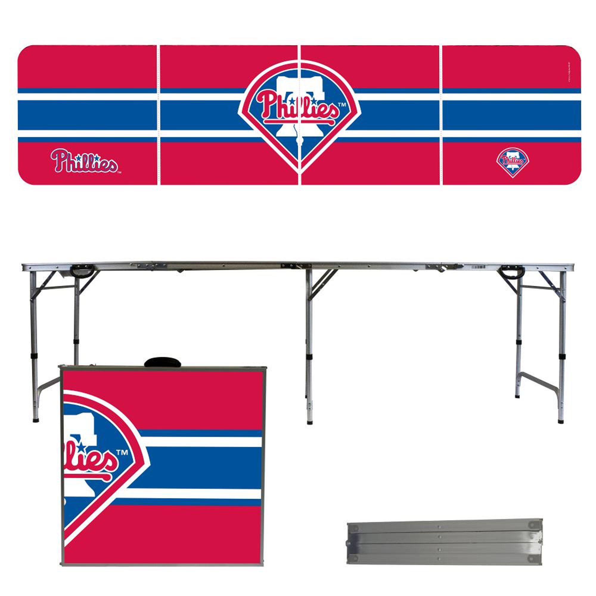 Philadelphia Phillies Striped Design 8' Portable Folding Tailgate Table - No Size